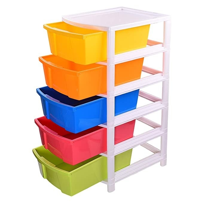 Multi-coloured five drawer storage system.