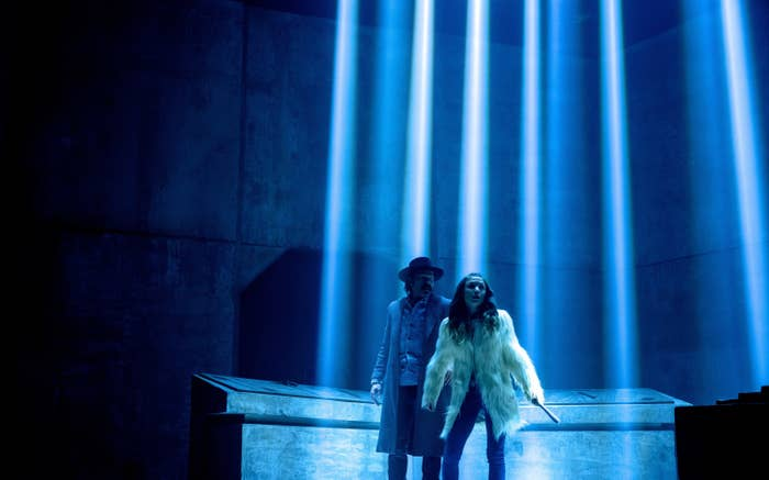 Doc and Waverly trapped somewhere surrounded by beams of light during Season 4