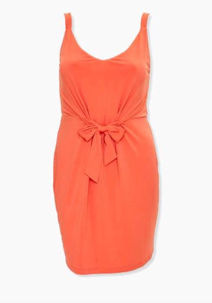 Orange sleeveless knotted tank dress