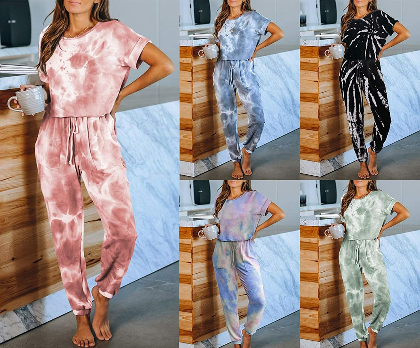 The tie-dye sweatsuits in multiple colors
