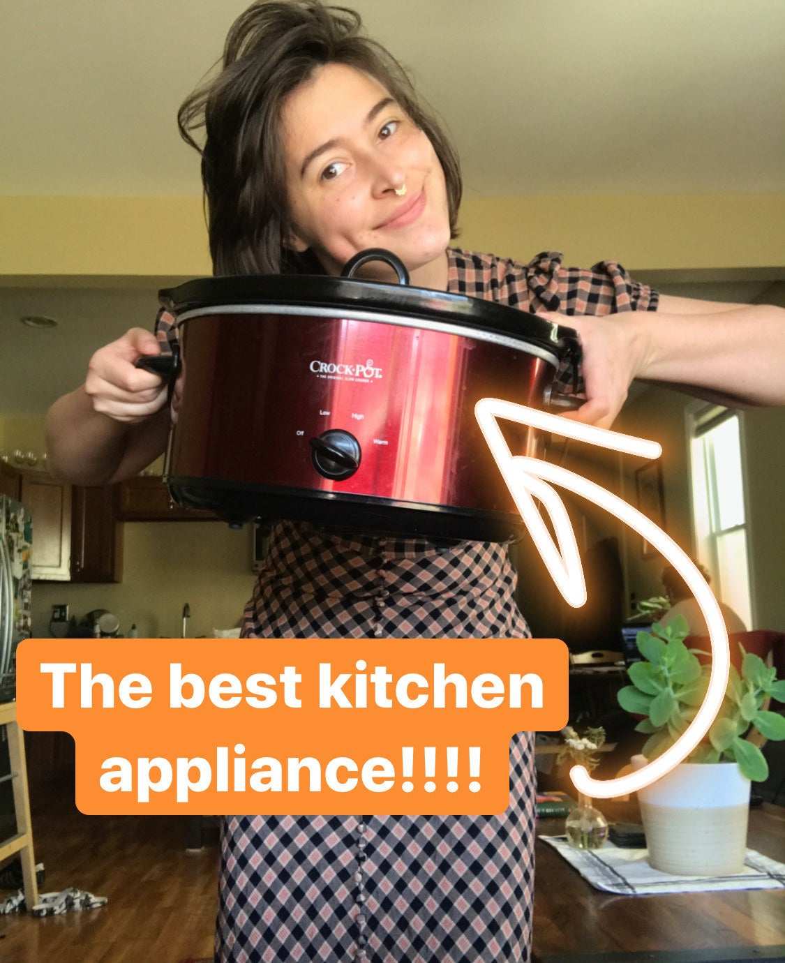 A person holding their Crock-Pot up in their kitchen
