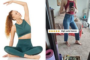 "Model in a sports bra / reviewer in jeans with text ""high waist heaven"""