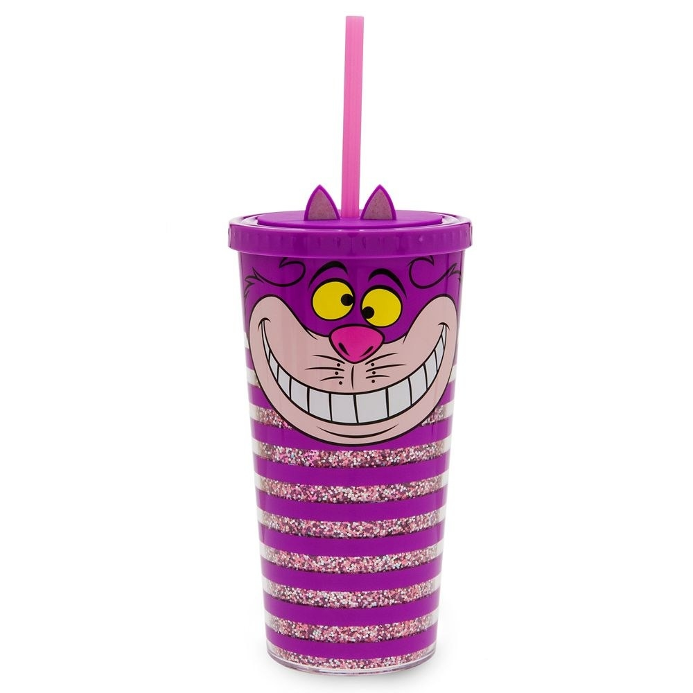 The purple striped tumbler, featuring glitter on the inner wall, a twist-tight lid with hole for straw, and 3D ears