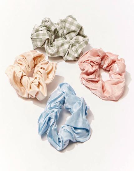 Blue, orange, pink, and green gingham-print scrunchies
