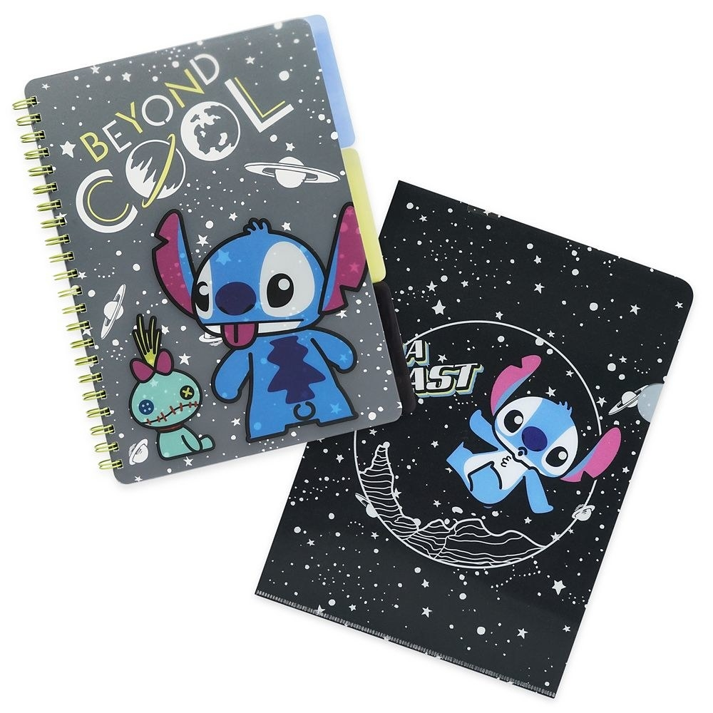 The notebooks, featuring Stitch in space design on the covers