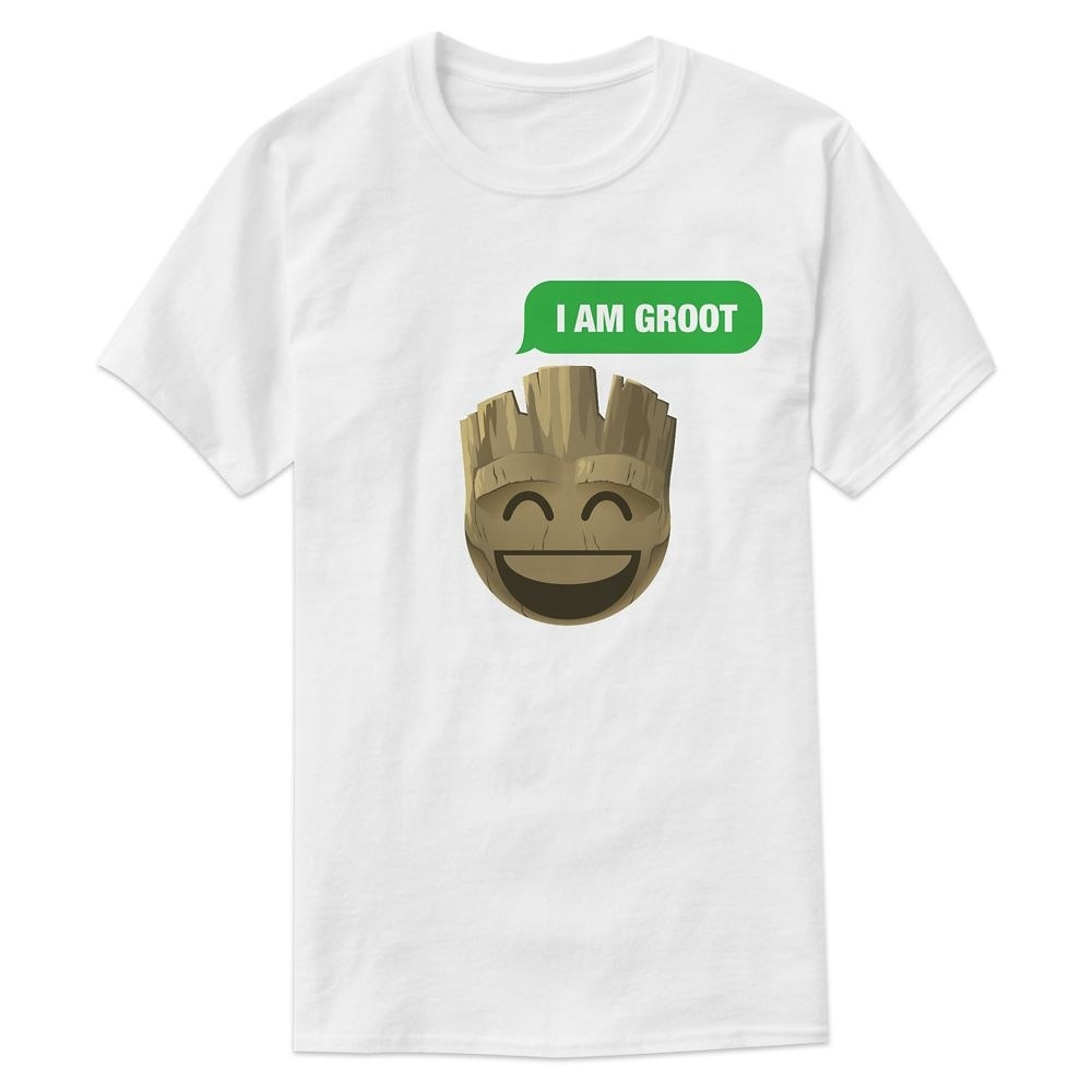 The tee in white, featuring a text bubble that reads I am Groot