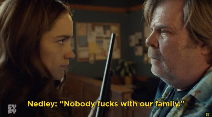 "Nedley telling Wynonna, ""Nobody fucks with our family"""