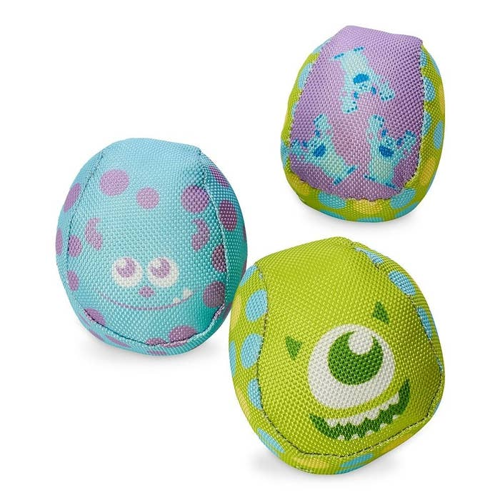 The fabric-covered balls, featuring different Mike and Sulley designs