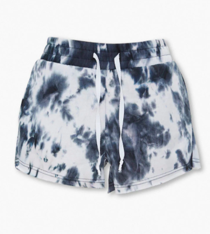 White and black tie-dye shorts with a drawstring
