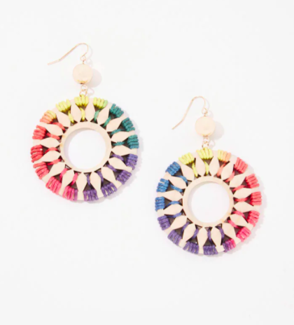 Threaded geo drop earrings in a rainbow shade