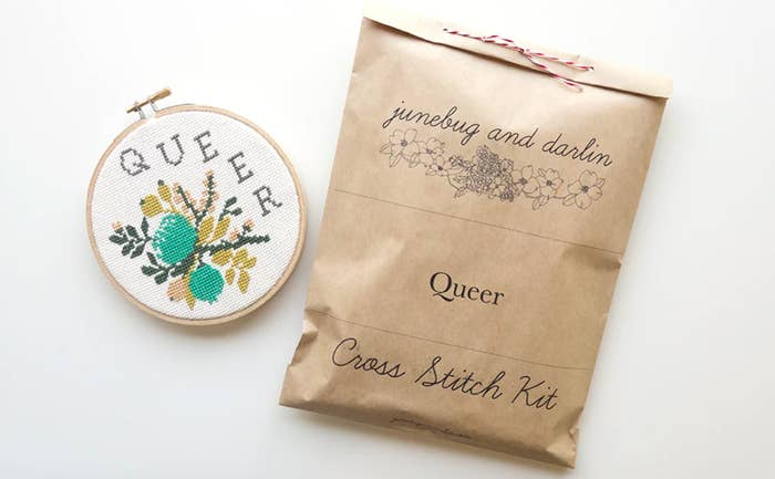 """A cross stitch kit that reads """"Queer"""""""
