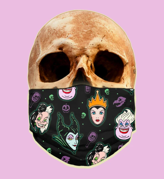 face mask with ursula, cruella de vil, maleficent, the evil queen, and various skull props on it