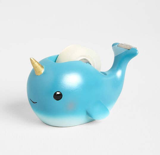 big-eyed narwhal with tape dispenser on back
