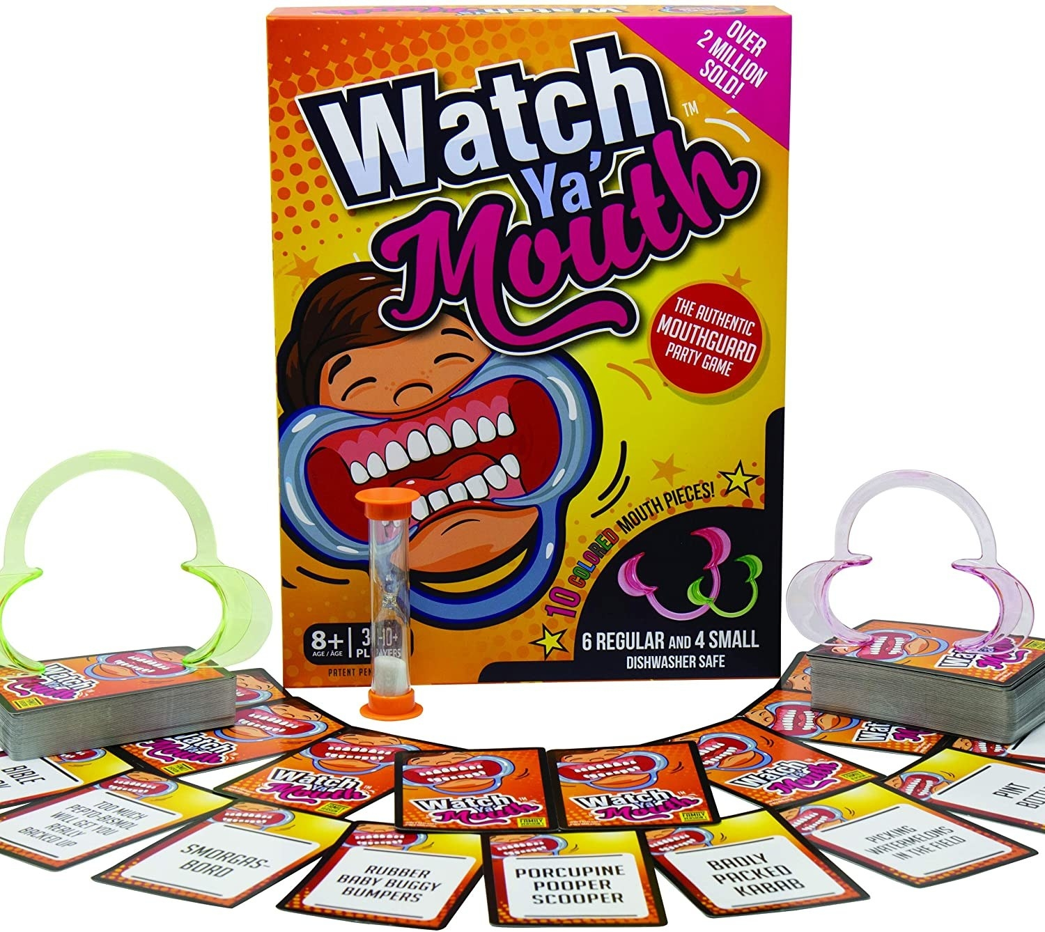 Watch Ya Mouth board game with cards and timer displayed