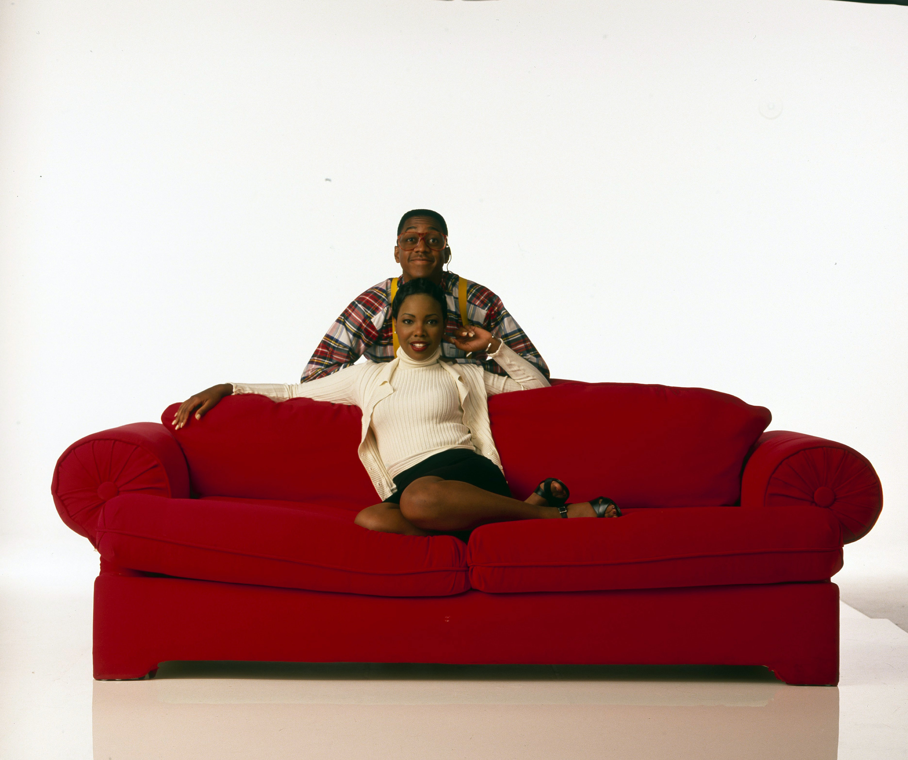 A publicity photo of Laura and Steve from Family Matters