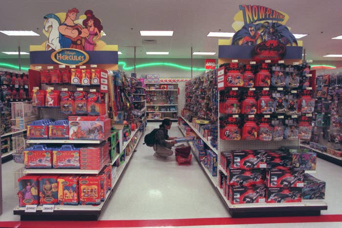A photo of the Target toy department aisles in 1997
