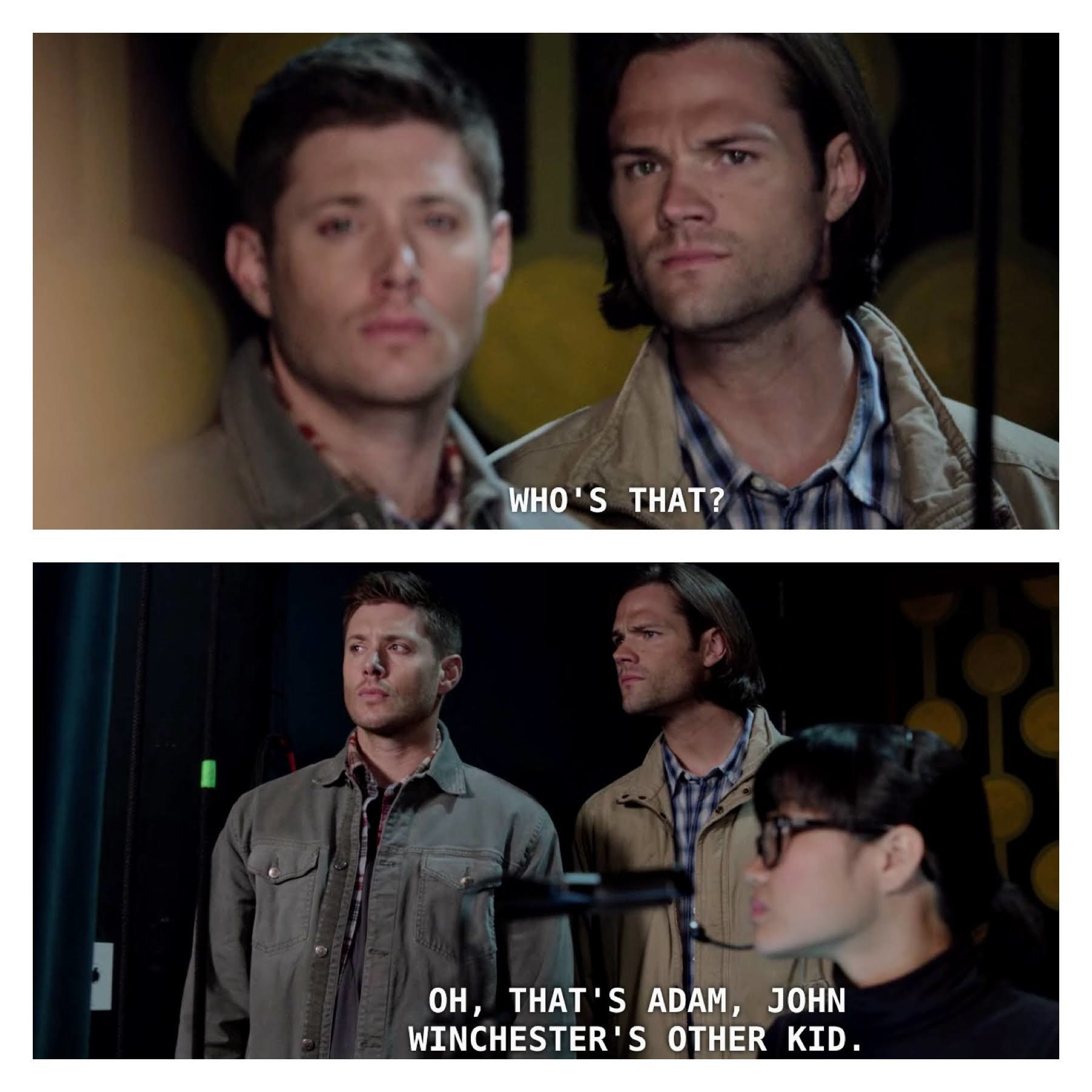 The Stage Manager tells the Winchesters that the character they're referring to is Adam from the Swan Song scene.
