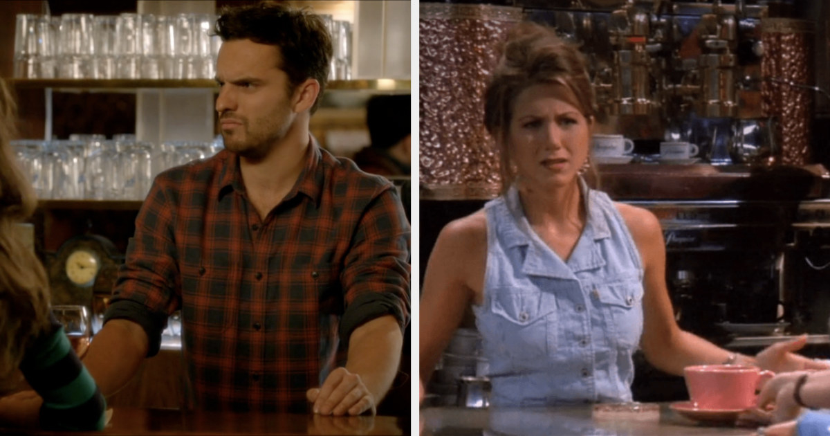 Nick working at the bar/Rachel working at Central Perk