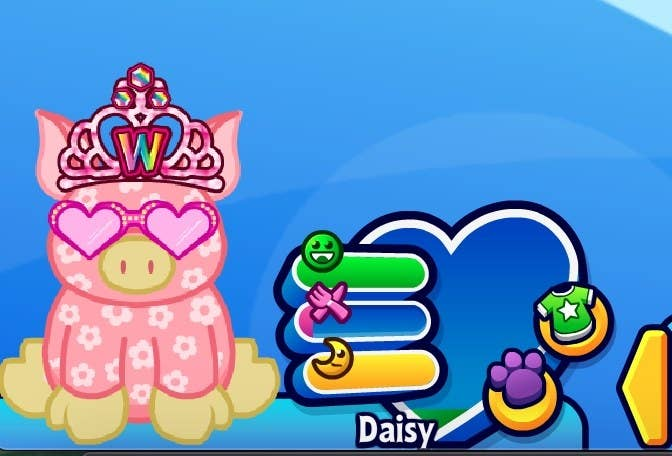 A Webkinz pet named Daisy, who is a pink, floral pig