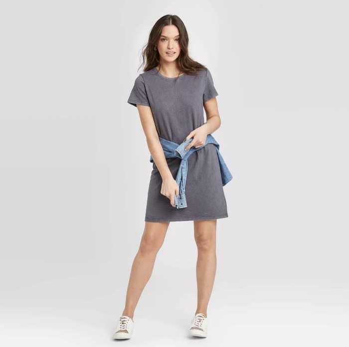 Model wearing the grey T-shirt dress