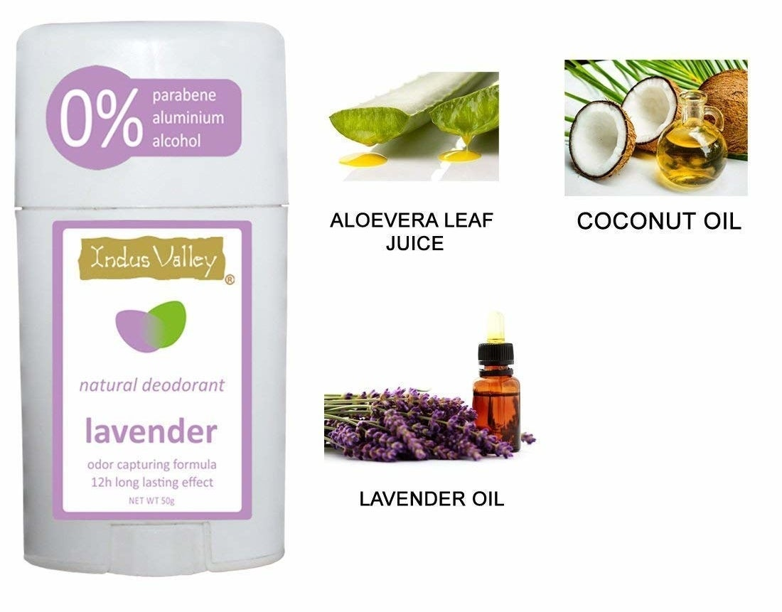 A stick of lavender deodrant and images of its ingredients - aloevera leaf juice, coconut oil, and lavender oil