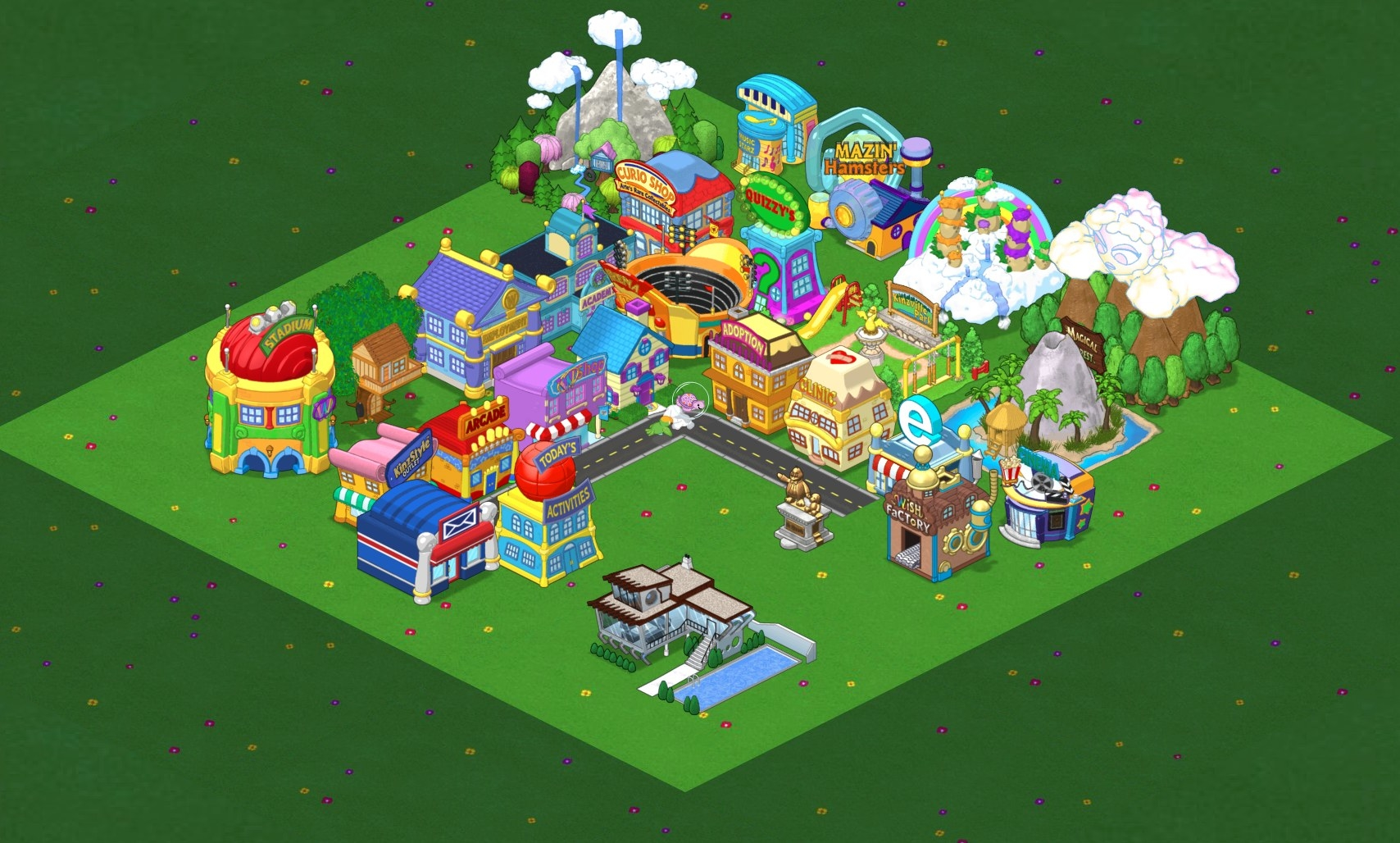 An above shot of Webkinz World, with various buildings