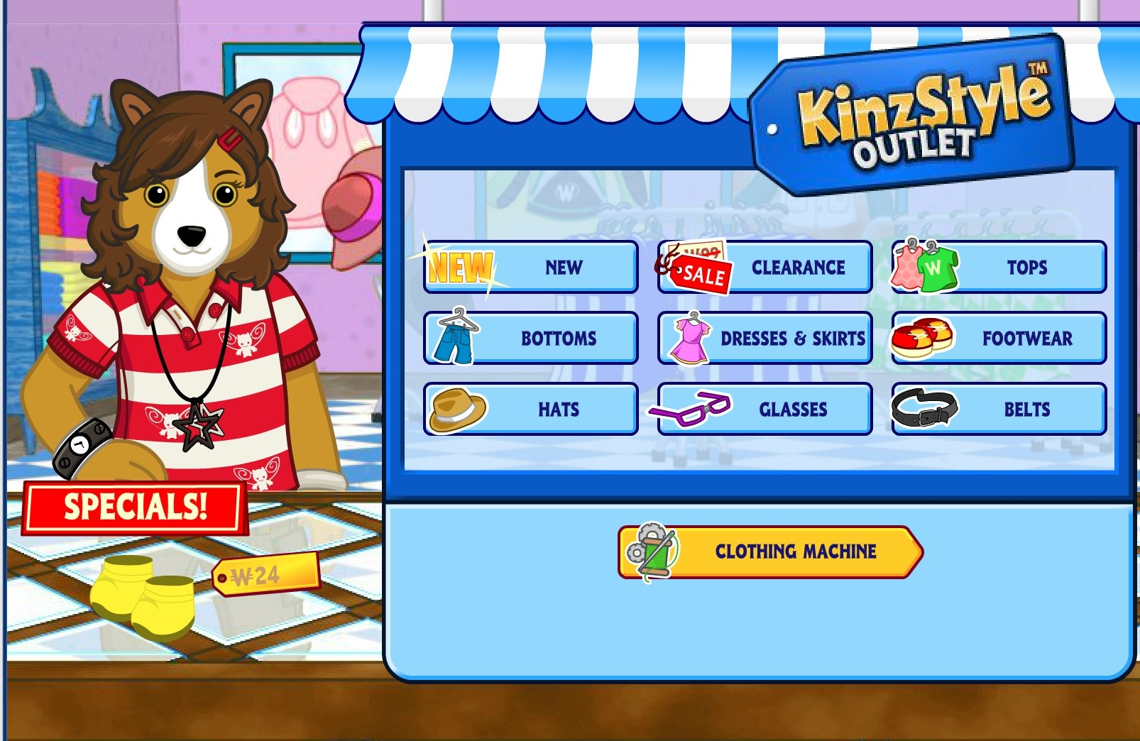 A dog character sells clothing and accessories at the KinzStyle Outlet