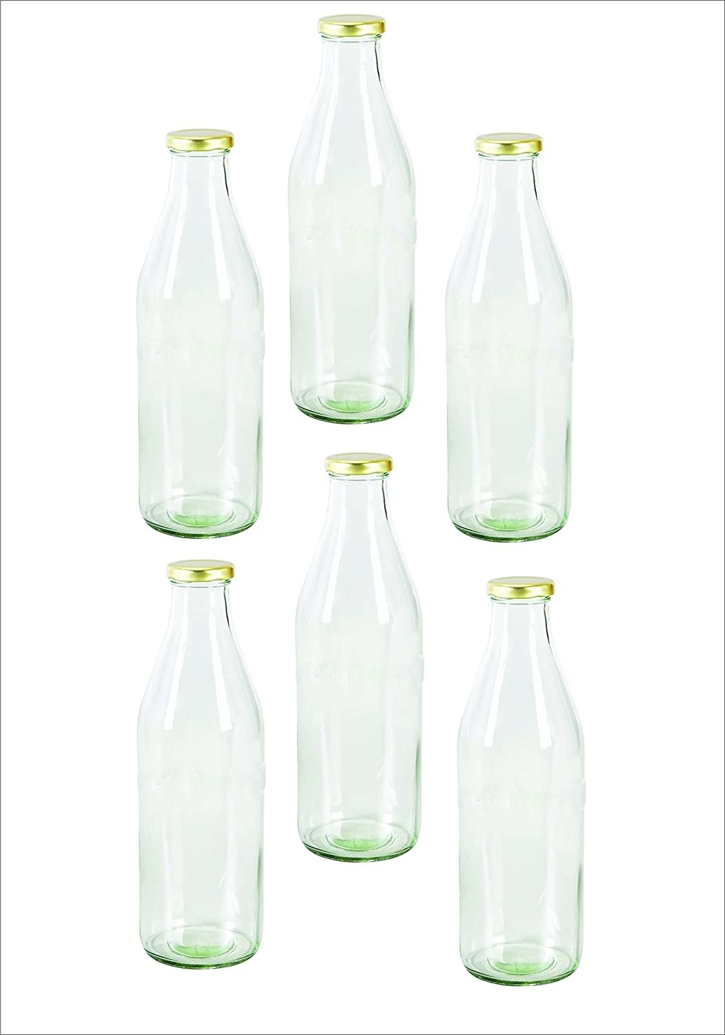 Six transparent glass bottles