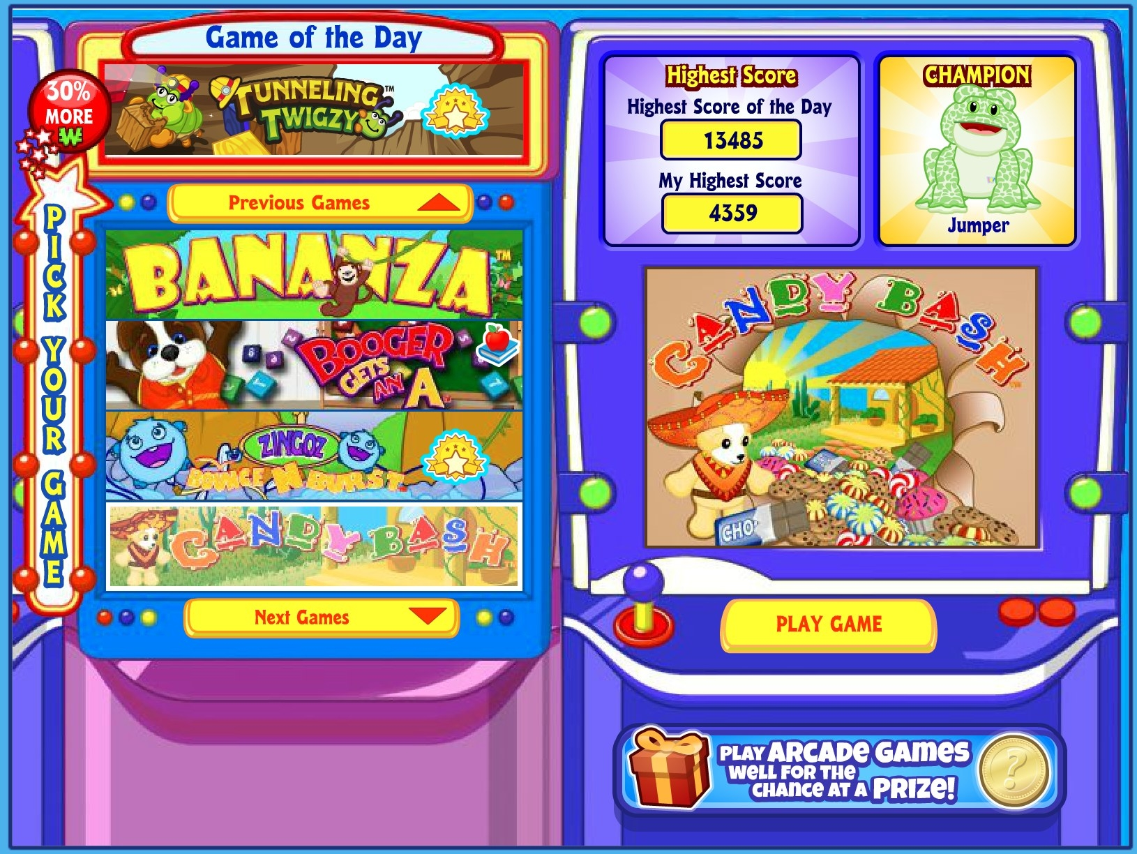 A screenshot of the Webkinz Arcade, including rh games Bananza, Booger Gets an A, and Candy Bash