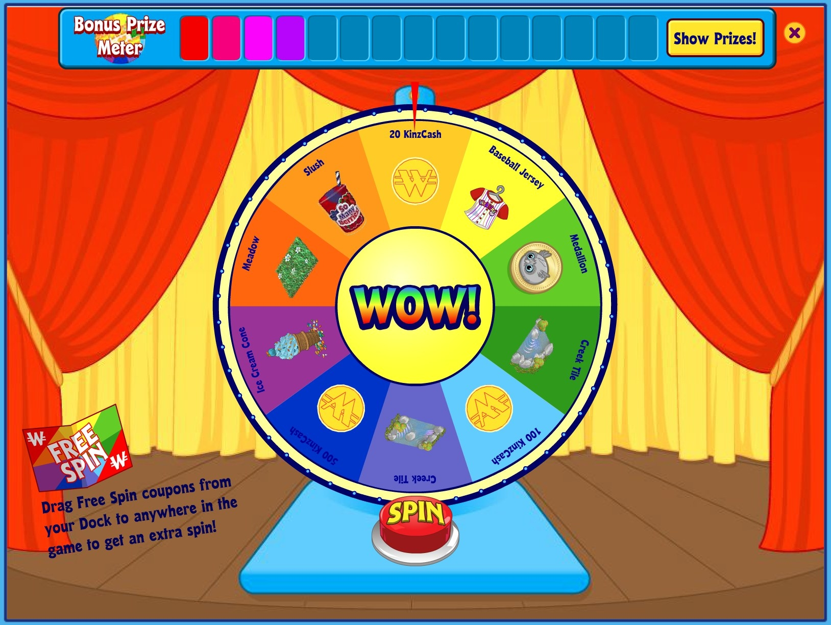 "A screenshot of the Wheel of Wow, which has panded on ""20 KinzCash"""