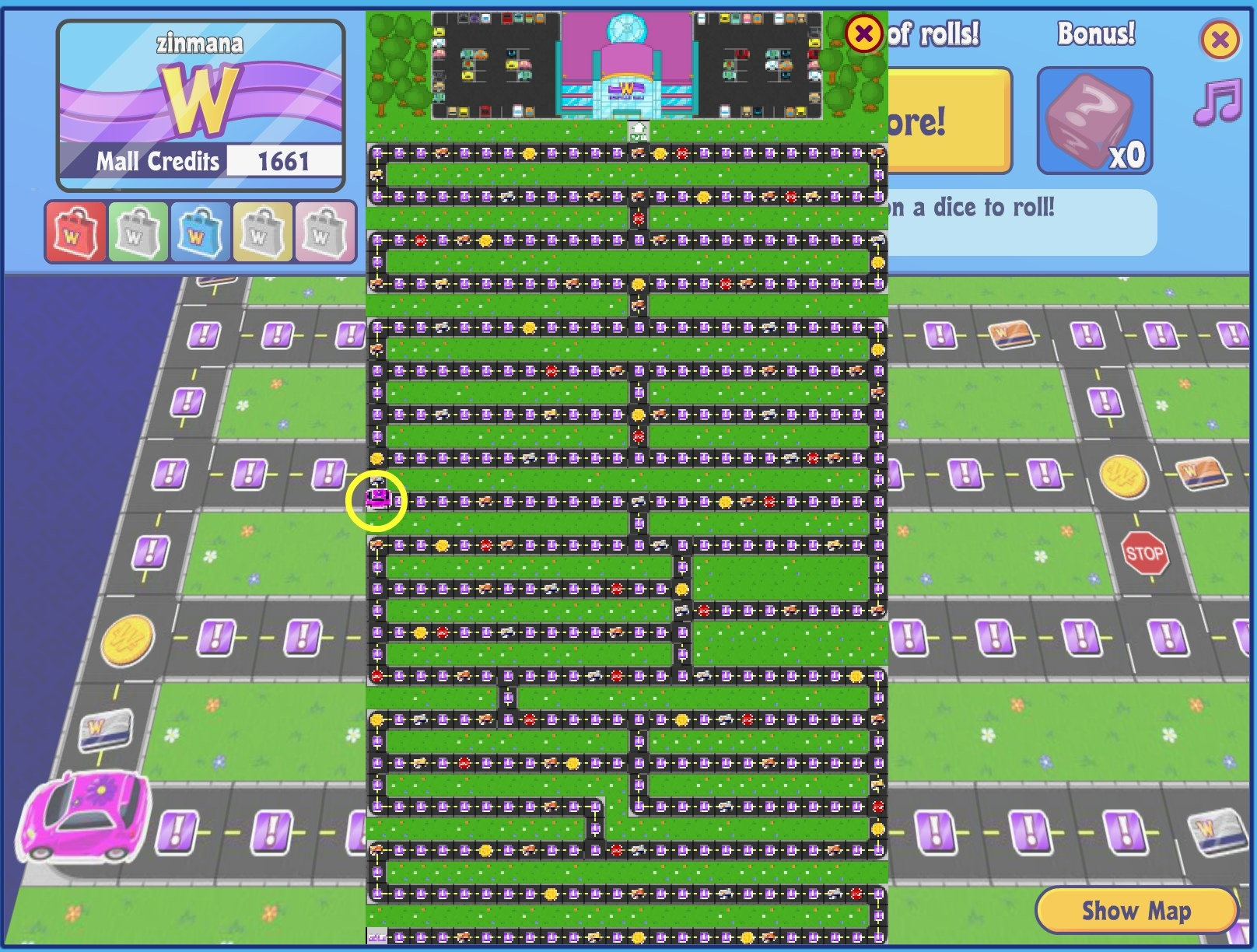 A screenshot of the game Spree! where the player moves around in a car on a game board