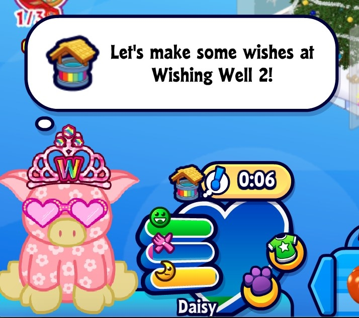 "Daisy, the floral pinj big has a thought bubble over their head that says, ""Let's make some wishes at Wishing Well 2!"""