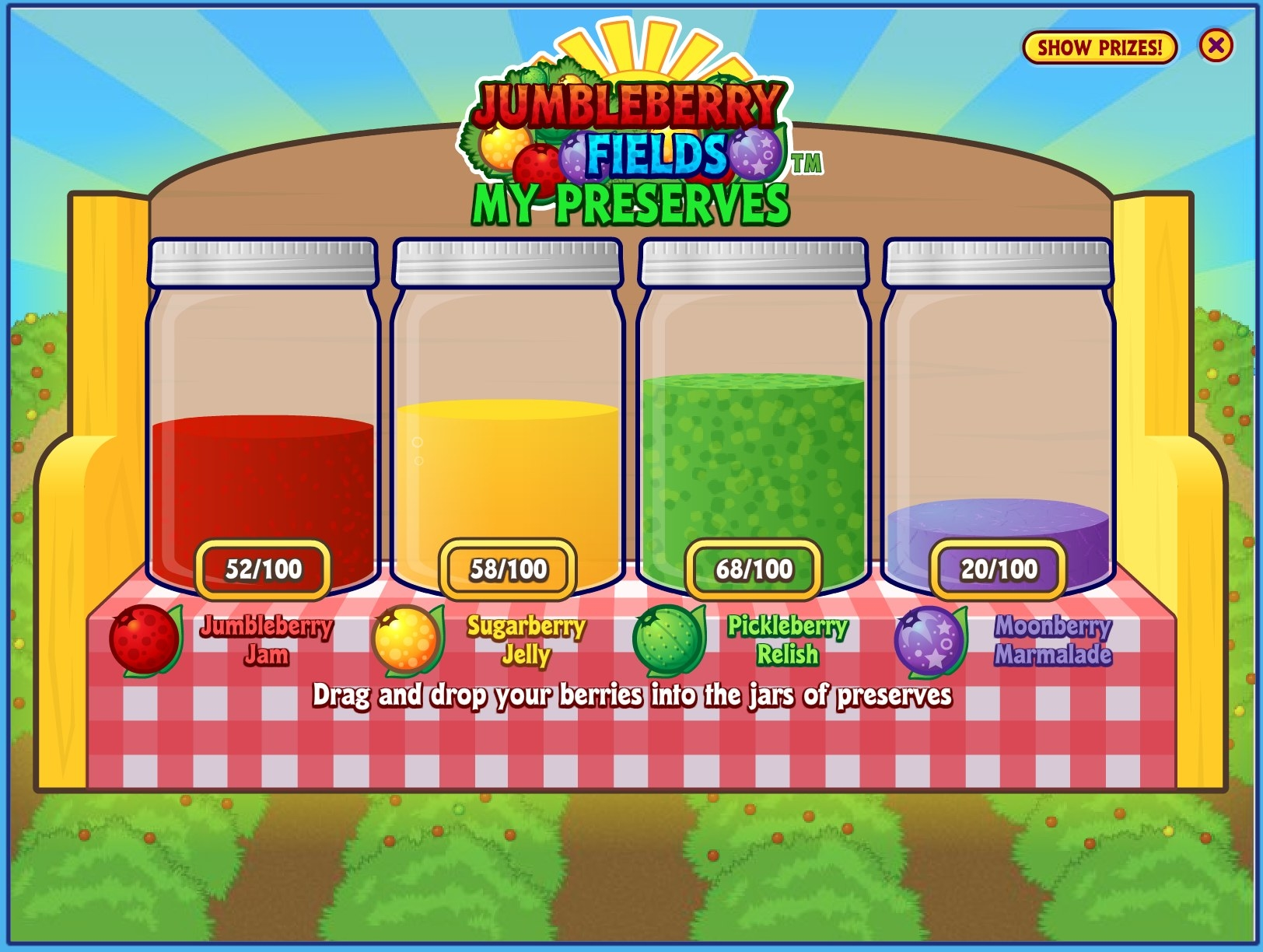 A screenshot of Jumbleberry Fields preserves, which shows the player has 52/100 Jumbleberries, 58/100 Sugarberries, 68/100 Pickleberries, and 20/100 Moonberries