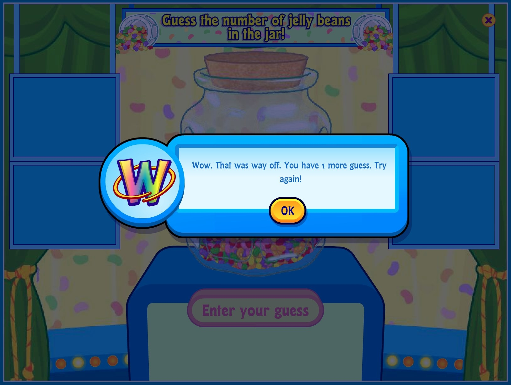 "A screenshot of a jellybean guessing game with a pop up that says, ""Wow. That was way off. You have 1 more guess. Try again!"""
