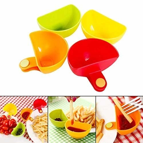 A collage of dip holders in multiple colours, being used with various dips and food items.