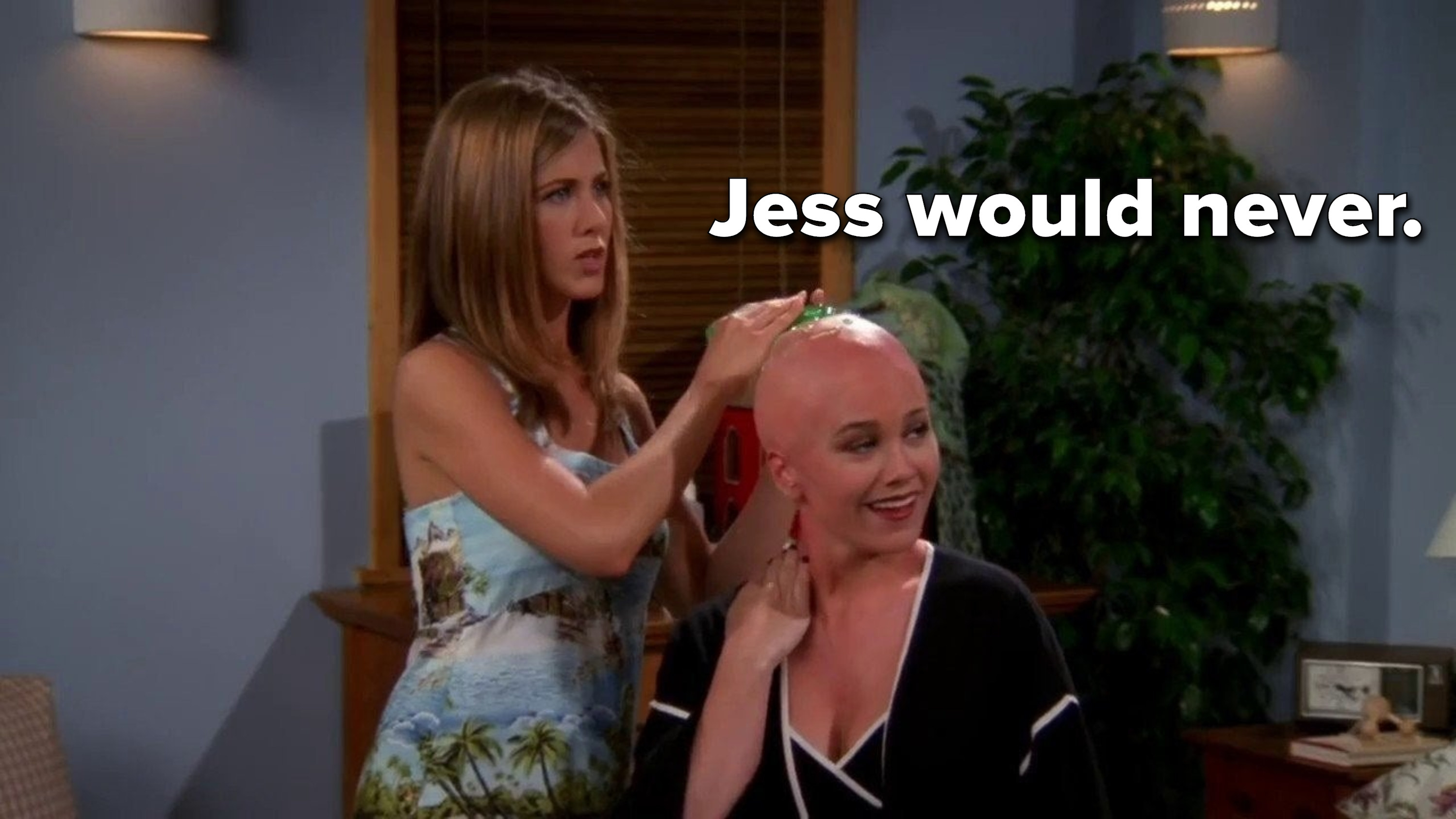 Rachel stands behind Ross's new girlfriend after convincing her to shave her hair off.