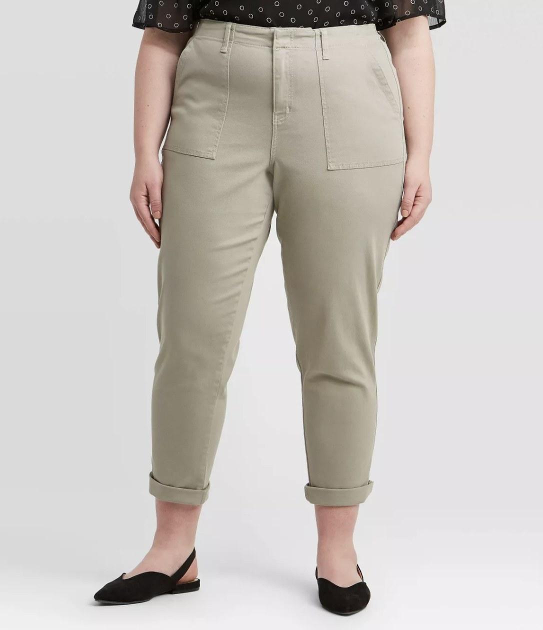 Model wearing the tan pants