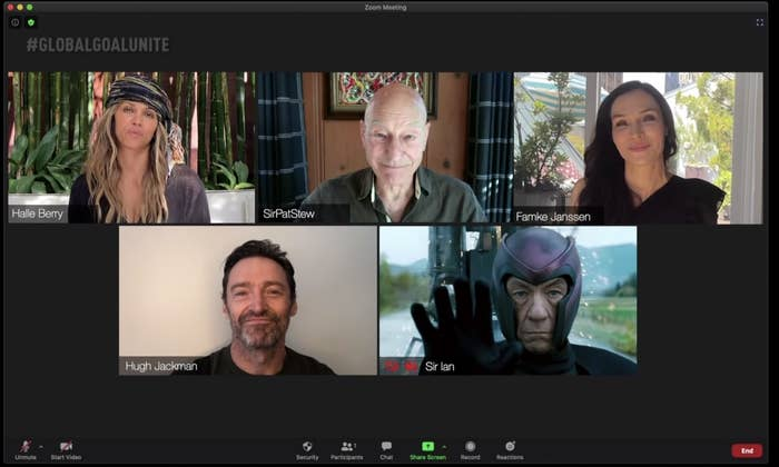 Halle Berry, Patrick Stewart, Famke Janssen, and Hugh Jackman on a video call. There is a photo of Ian McKellen.