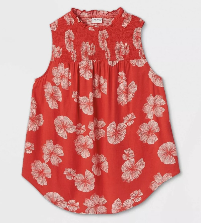 The red tank with a floral design