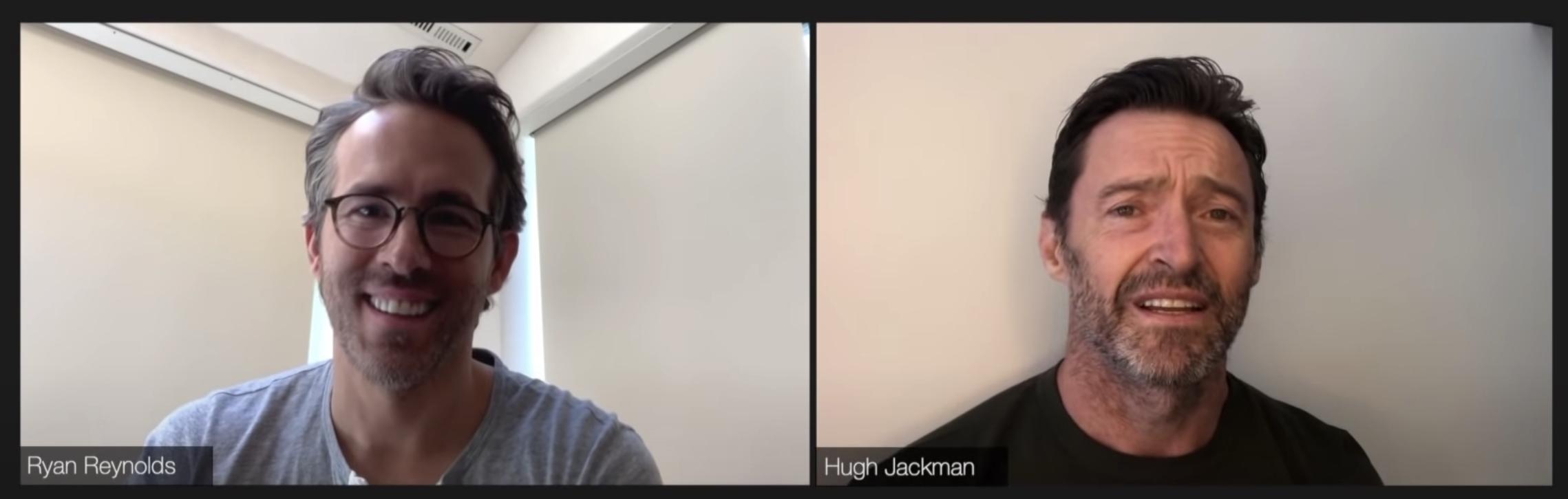 Left: Ryan Reynolds looking happy. Right: Hugh Jackman looking upset.