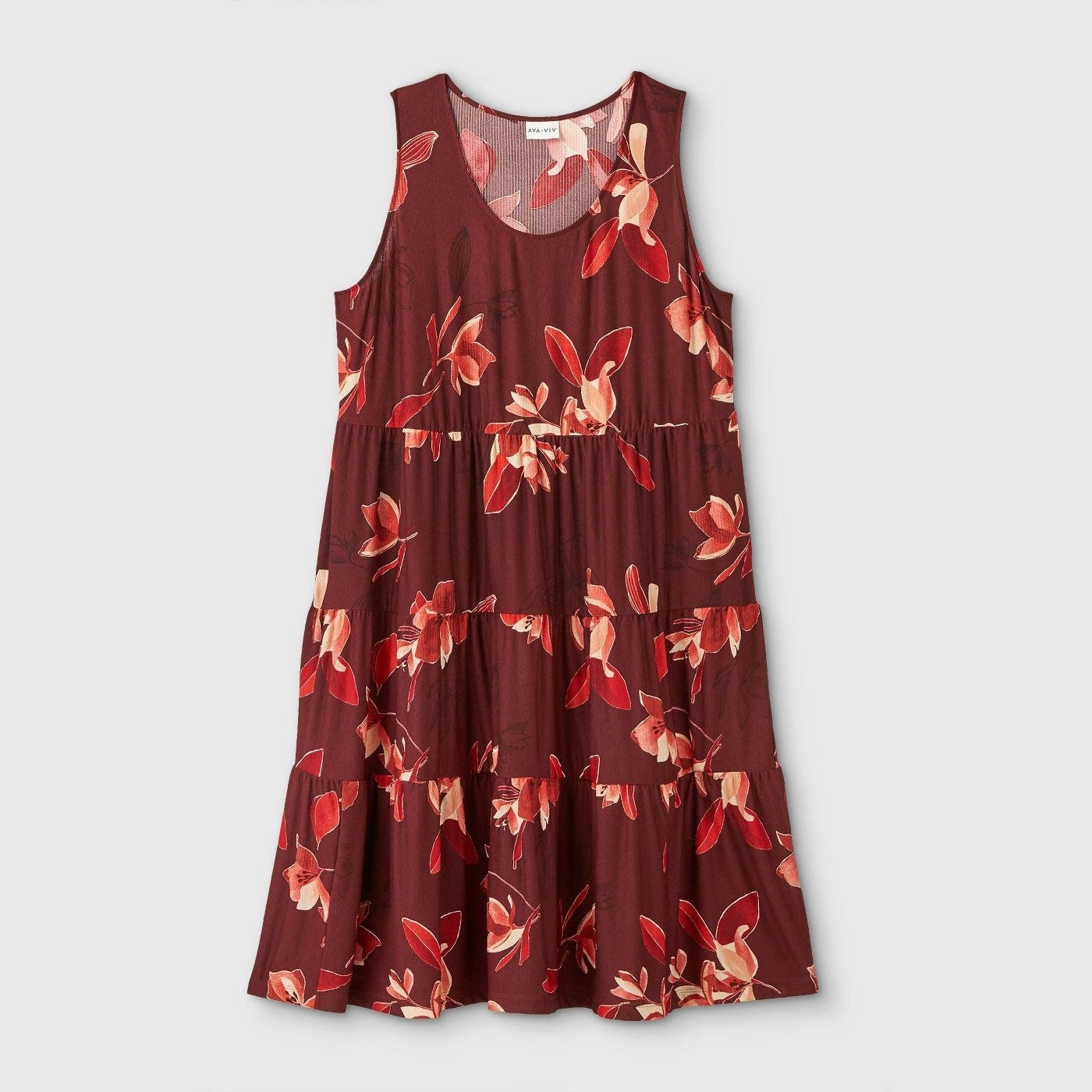 The maroon dress with red and pink floral print