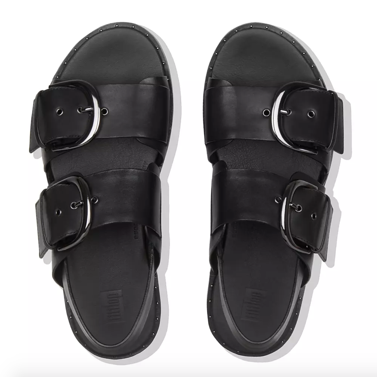 the black double strap sandals