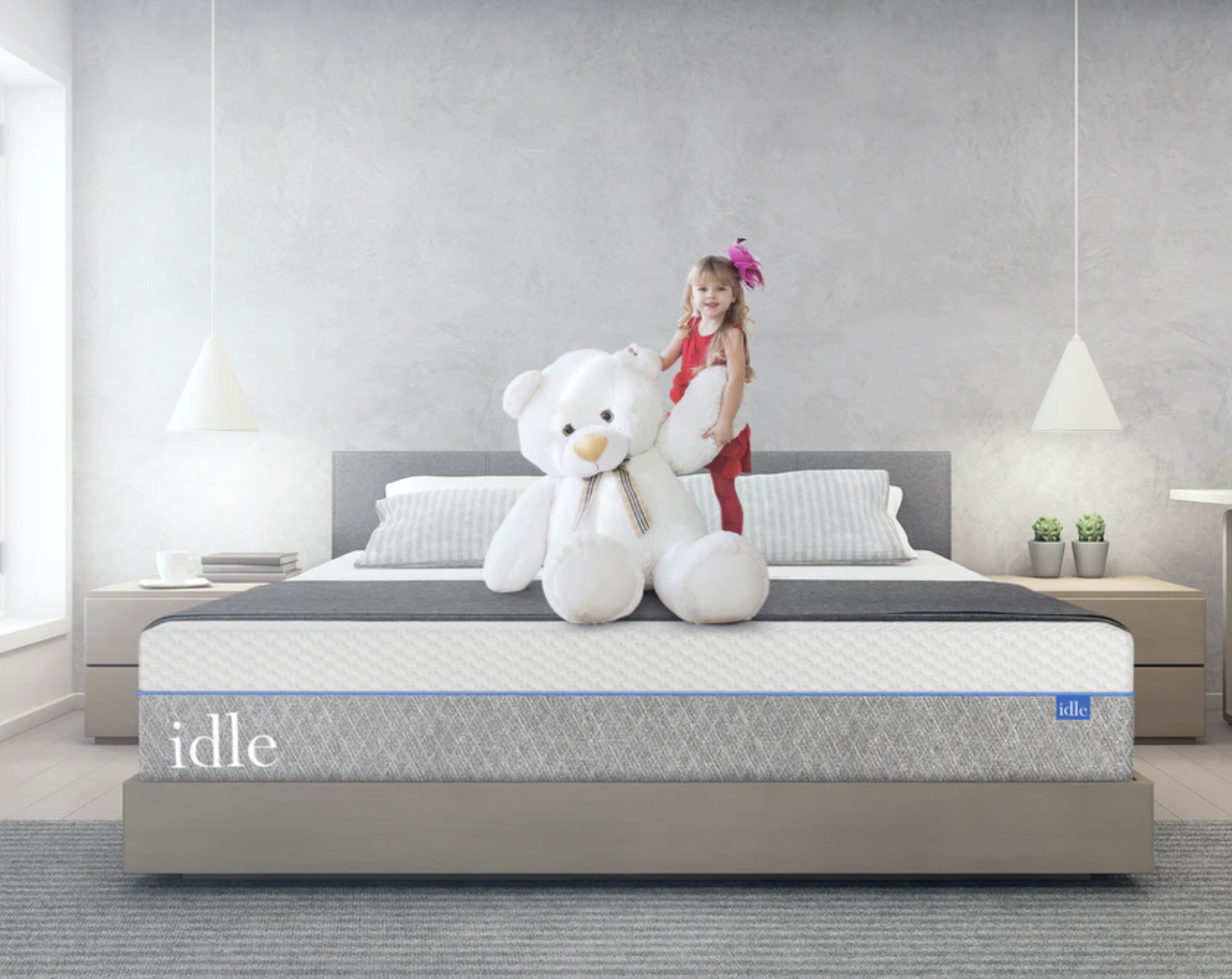 gray queen-sized mattress