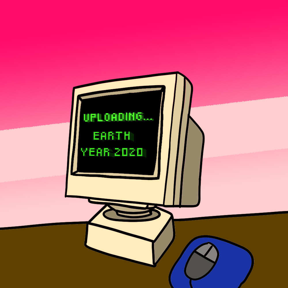 """Computer monitor that says """"Uploading... Earth Year 2020"""""""