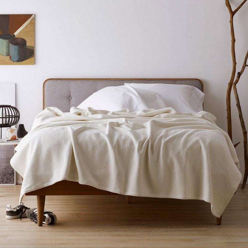 the white organic cotton blanket