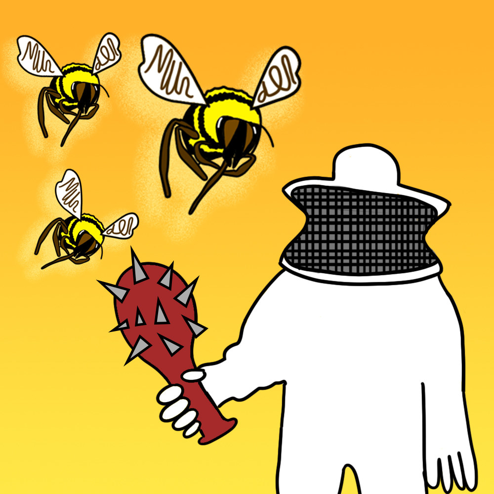Beekeeper holding a spiked club next to three massive hornets