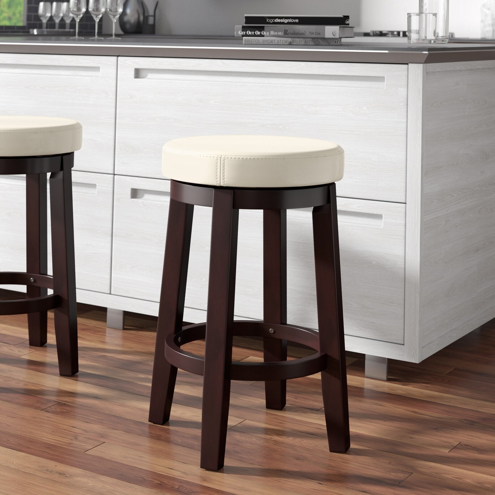 The leather bar stool with wooden legs
