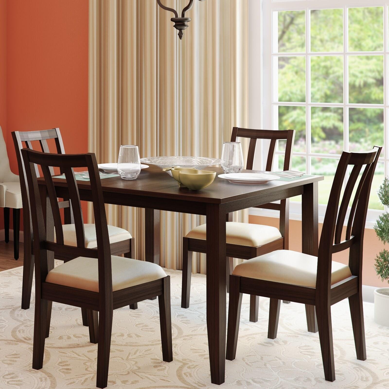 The dark wood dining set