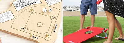 (left) Wooden baseball game with pegs and dice (right) portable bean bag toss game