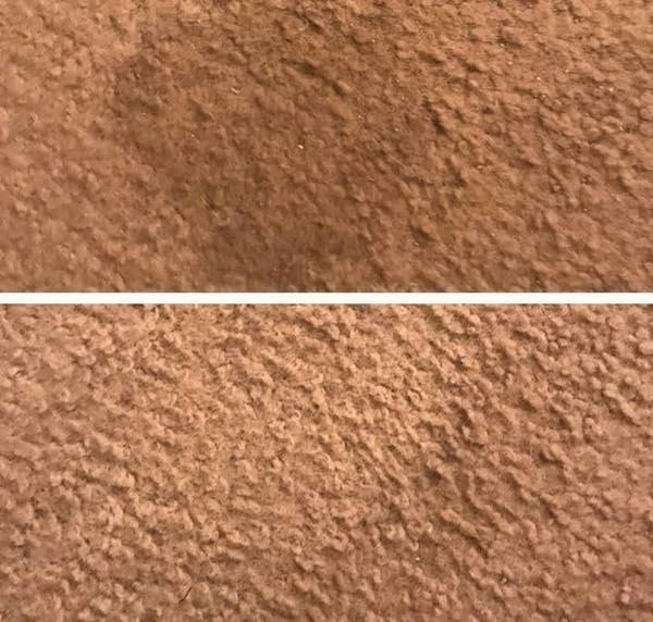 On the top, a stain on a carpet, and on the bottom, the same carpet now stain-free